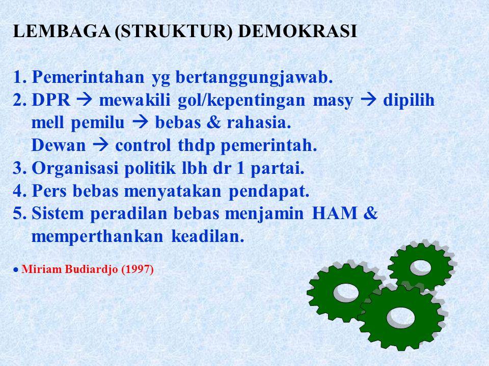 LEMBAGA (STRUKTUR) DEMOKRASI 1.Pemerintahan yg bertanggungjawab.