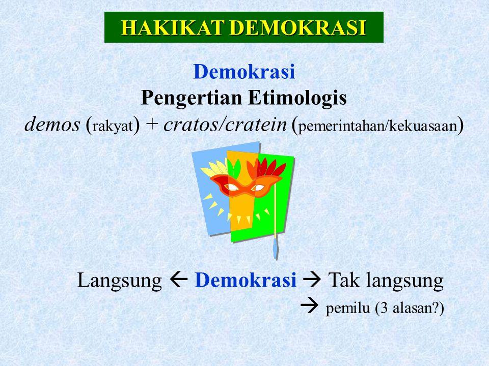 HAKIKAT DEMOKRASI Demokrasi Pengertian Etimologis demos ( rakyat ) + cratos/cratein ( pemerintahan/kekuasaan ) Langsung  Demokrasi  Tak langsung  pemilu (3 alasan?)