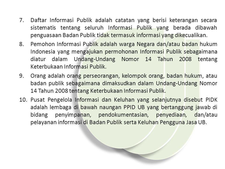 7.Daftar Informasi Publik adalah catatan yang berisi keterangan secara sistematis tentang seluruh Informasi Publik yang berada dibawah penguasaan Badan Publik tidak termasuk informasi yang dikecualikan.