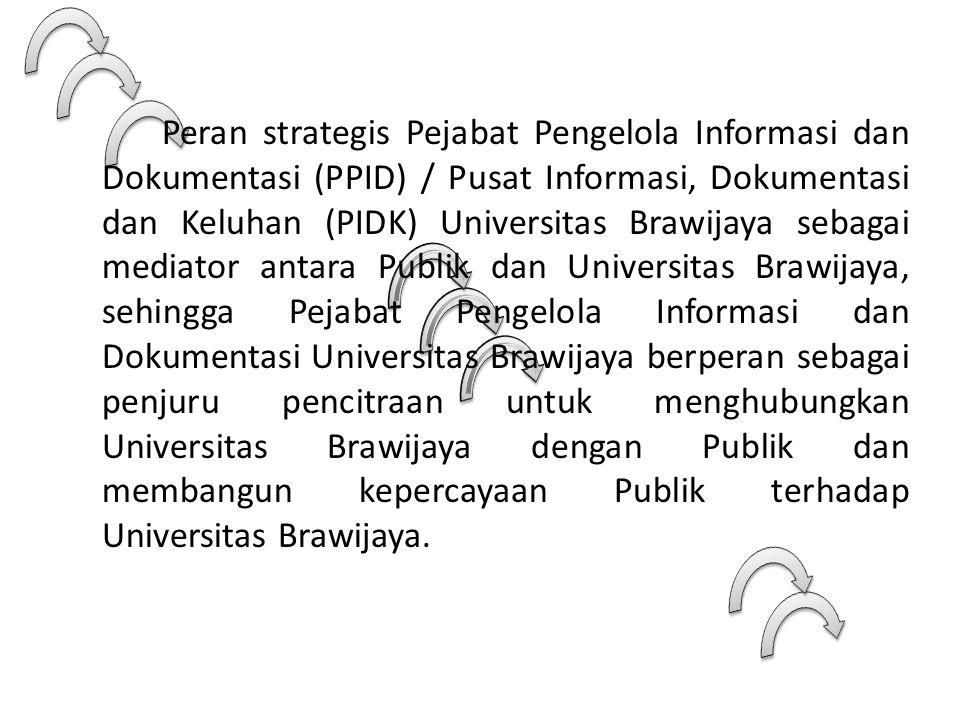 Peran strategis Pejabat Pengelola Informasi dan Dokumentasi (PPID) / Pusat Informasi, Dokumentasi dan Keluhan (PIDK) Universitas Brawijaya sebagai med