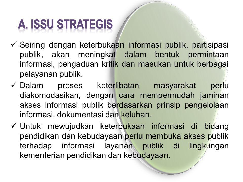 Seiring dengan keterbukaan informasi publik, partisipasi publik, akan meningkat dalam bentuk permintaan informasi, pengaduan kritik dan masukan untuk berbagai pelayanan publik.
