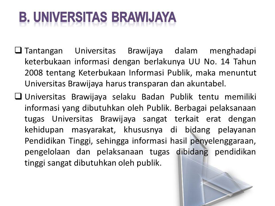  Tantangan Universitas Brawijaya dalam menghadapi keterbukaan informasi dengan berlakunya UU No. 14 Tahun 2008 tentang Keterbukaan Informasi Publik,
