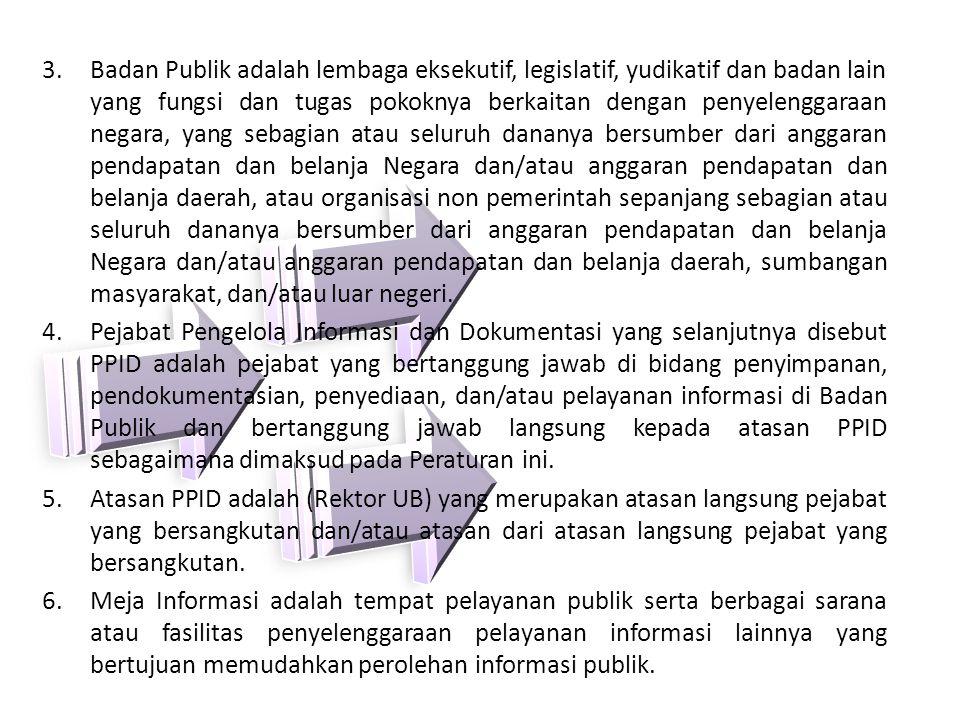3.Badan Publik adalah lembaga eksekutif, legislatif, yudikatif dan badan lain yang fungsi dan tugas pokoknya berkaitan dengan penyelenggaraan negara,