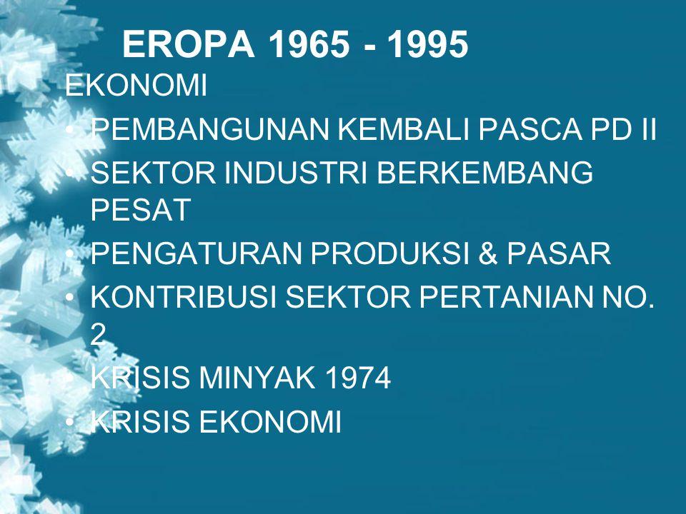 EROPA 1965 - 1995 EKONOMI PEMBANGUNAN KEMBALI PASCA PD II SEKTOR INDUSTRI BERKEMBANG PESAT PENGATURAN PRODUKSI & PASAR KONTRIBUSI SEKTOR PERTANIAN NO.