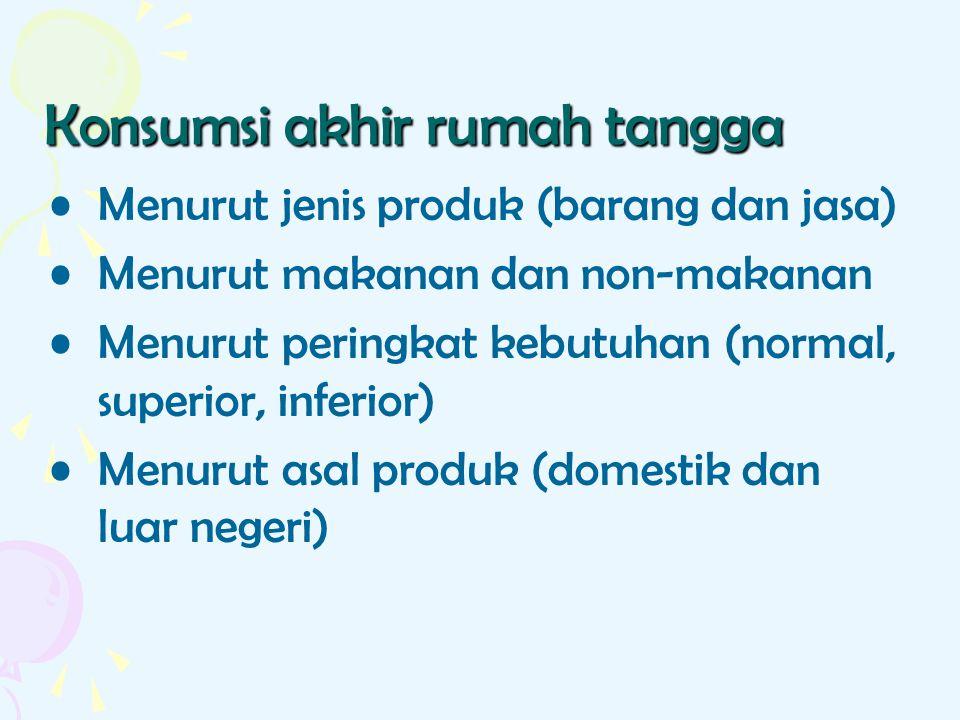 Konsumsi akhir rumah tangga Menurut jenis produk (barang dan jasa) Menurut makanan dan non-makanan Menurut peringkat kebutuhan (normal, superior, infe