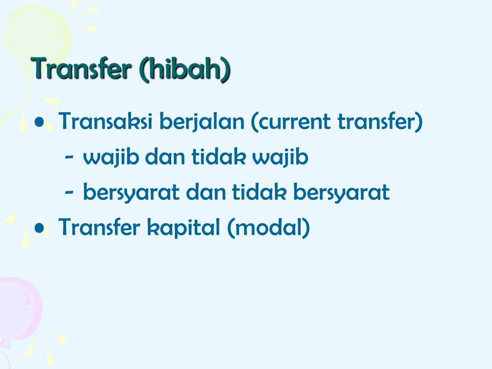 Transfer (hibah) Transaksi berjalan (current transfer) -wajib dan tidak wajib - bersyarat dan tidak bersyarat Transfer kapital (modal)