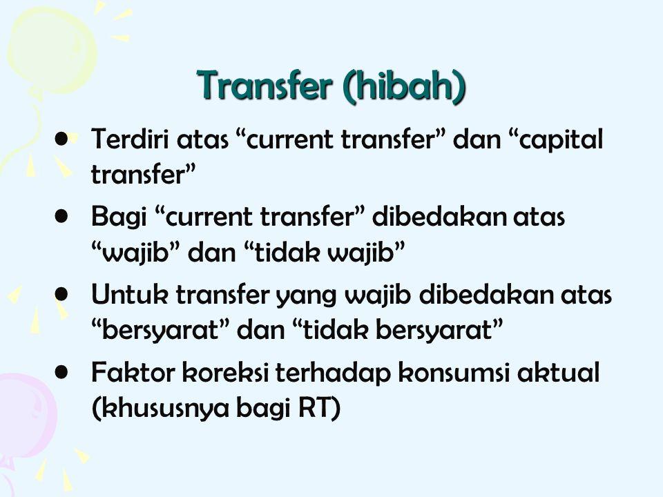 """Transfer (hibah) Terdiri atas """"current transfer"""" dan """"capital transfer"""" Bagi """"current transfer"""" dibedakan atas """"wajib"""" dan """"tidak wajib"""" Untuk transfe"""
