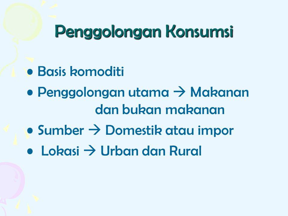 Penggolongan Konsumsi Basis komoditi Penggolongan utama  Makanan dan bukan makanan Sumber  Domestik atau impor Lokasi  Urban dan Rural