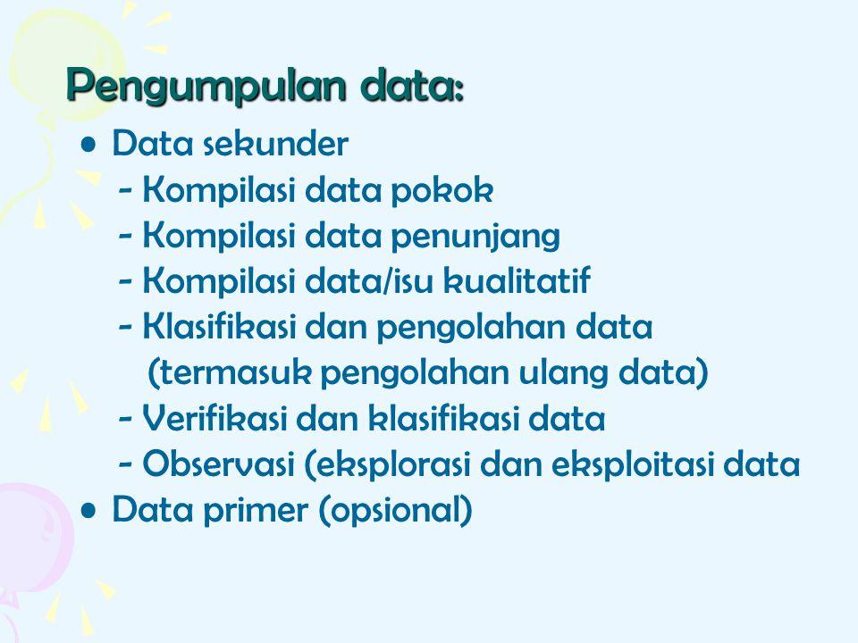 Pengumpulan data: Data sekunder - Kompilasi data pokok - Kompilasi data penunjang - Kompilasi data/isu kualitatif - Klasifikasi dan pengolahan data (t