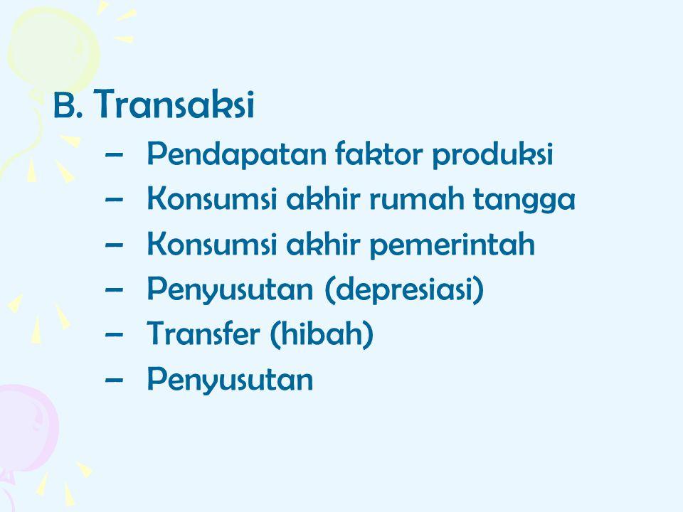 B. Transaksi –Pendapatan faktor produksi –Konsumsi akhir rumah tangga –Konsumsi akhir pemerintah –Penyusutan (depresiasi) –Transfer (hibah) –Penyusuta