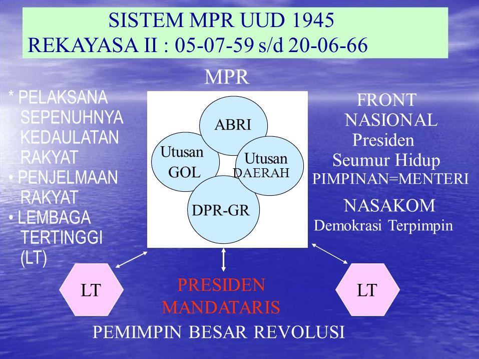 Utusan SISTEM MPR UUD 1945 REKAYASA II : 05-07-59 s/d 20-06-66 * PELAKSANA SEPENUHNYA KEDAULATAN RAKYAT PENJELMAAN RAKYAT LEMBAGA TERTINGGI (LT) LT PRESIDEN MANDATARIS LT FRONT NASIONAL Presiden Seumur Hidup PIMPINAN=MENTERI NASAKOM Demokrasi Terpimpin PEMIMPIN BESAR REVOLUSI MPR ABRI Utusan GOL DAERAH DPR-GR