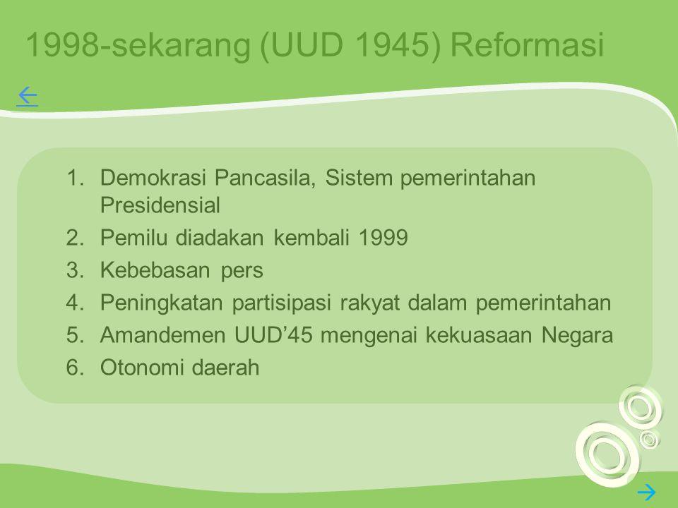 1998-sekarang (UUD 1945) Reformasi 1.Demokrasi Pancasila, Sistem pemerintahan Presidensial 2.Pemilu diadakan kembali 1999 3.Kebebasan pers 4.Peningkat