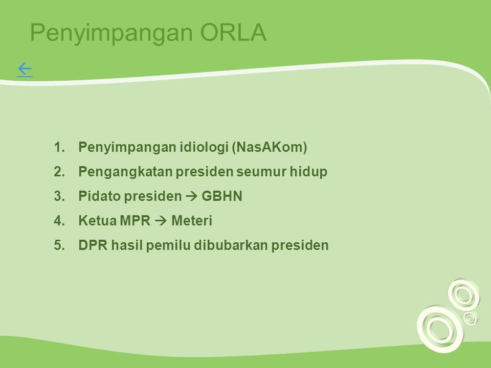 Penyimpangan ORLA 1.Penyimpangan idiologi (NasAKom) 2.Pengangkatan presiden seumur hidup 3.Pidato presiden  GBHN 4.Ketua MPR  Meteri 5.DPR hasil pem