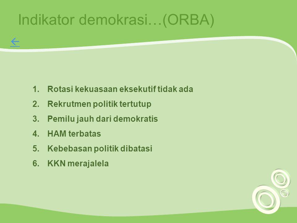 Indikator demokrasi…(ORBA) 1.Rotasi kekuasaan eksekutif tidak ada 2.Rekrutmen politik tertutup 3.Pemilu jauh dari demokratis 4.HAM terbatas 5.Kebebasa