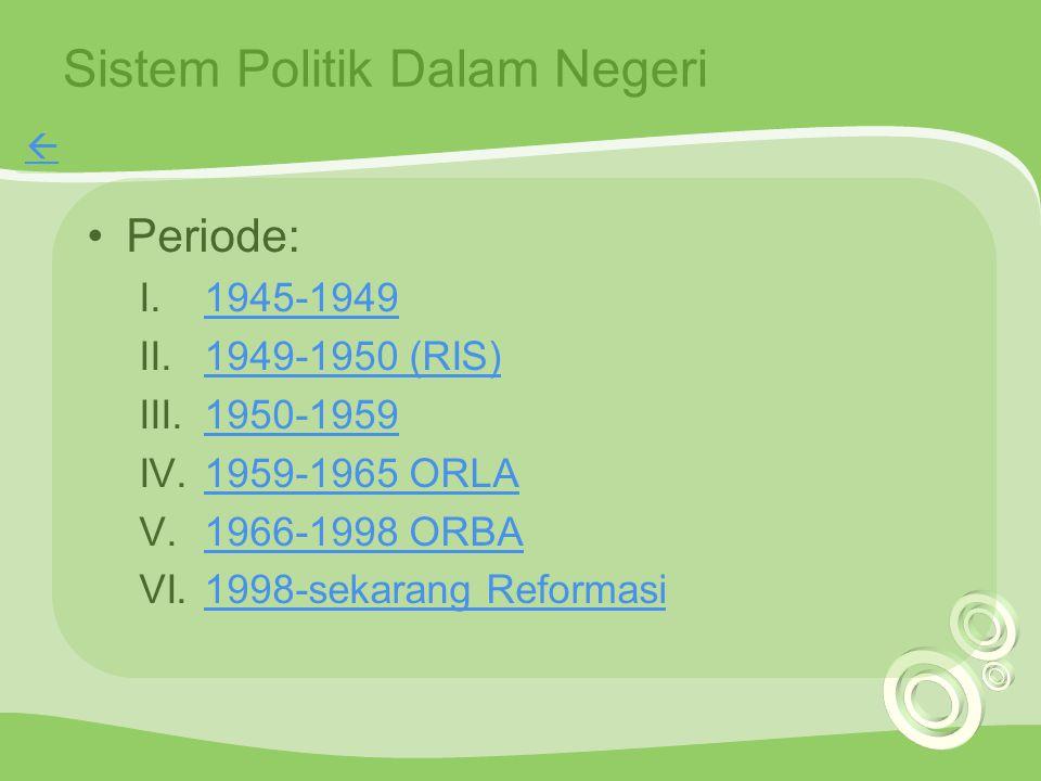 Sistem Politik Dalam Negeri Periode: I.1945-19491945-1949 II.1949-1950 (RIS)1949-1950 (RIS) III.1950-19591950-1959 IV.1959-1965 ORLA1959-1965 ORLA V.1