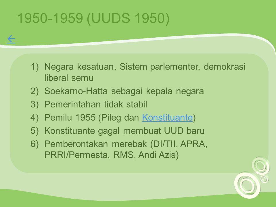 1950-1959 (UUDS 1950) 1)Negara kesatuan, Sistem parlementer, demokrasi liberal semu 2)Soekarno-Hatta sebagai kepala negara 3)Pemerintahan tidak stabil