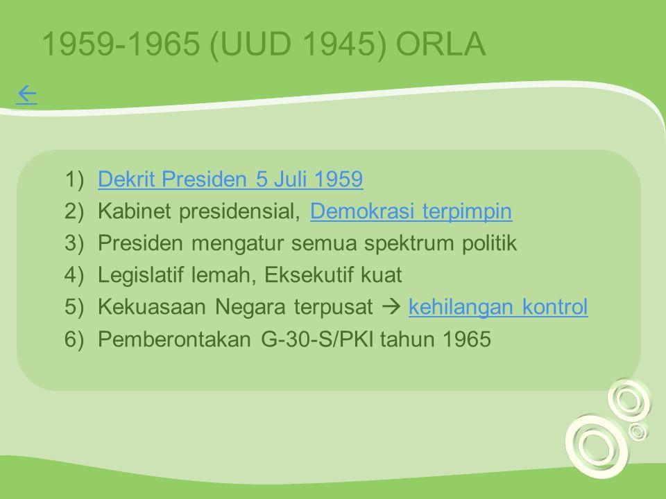 1959-1965 (UUD 1945) ORLA 1)Dekrit Presiden 5 Juli 1959Dekrit Presiden 5 Juli 1959 2)Kabinet presidensial, Demokrasi terpimpinDemokrasi terpimpin 3)Pr