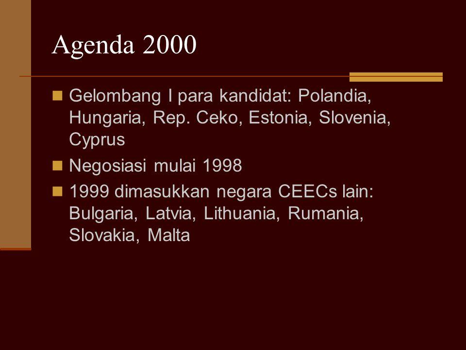 Agenda 2000 Gelombang I para kandidat: Polandia, Hungaria, Rep. Ceko, Estonia, Slovenia, Cyprus Negosiasi mulai 1998 1999 dimasukkan negara CEECs lain