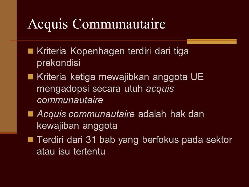 Acquis Communautaire Kriteria Kopenhagen terdiri dari tiga prekondisi Kriteria ketiga mewajibkan anggota UE mengadopsi secara utuh acquis communautair