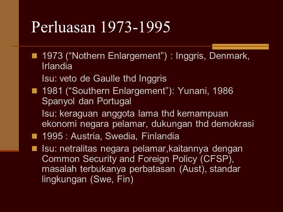 """Perluasan 1973-1995 1973 (""""Nothern Enlargement"""") : Inggris, Denmark, Irlandia Isu: veto de Gaulle thd Inggris 1981 (""""Southern Enlargement""""): Yunani, 1"""