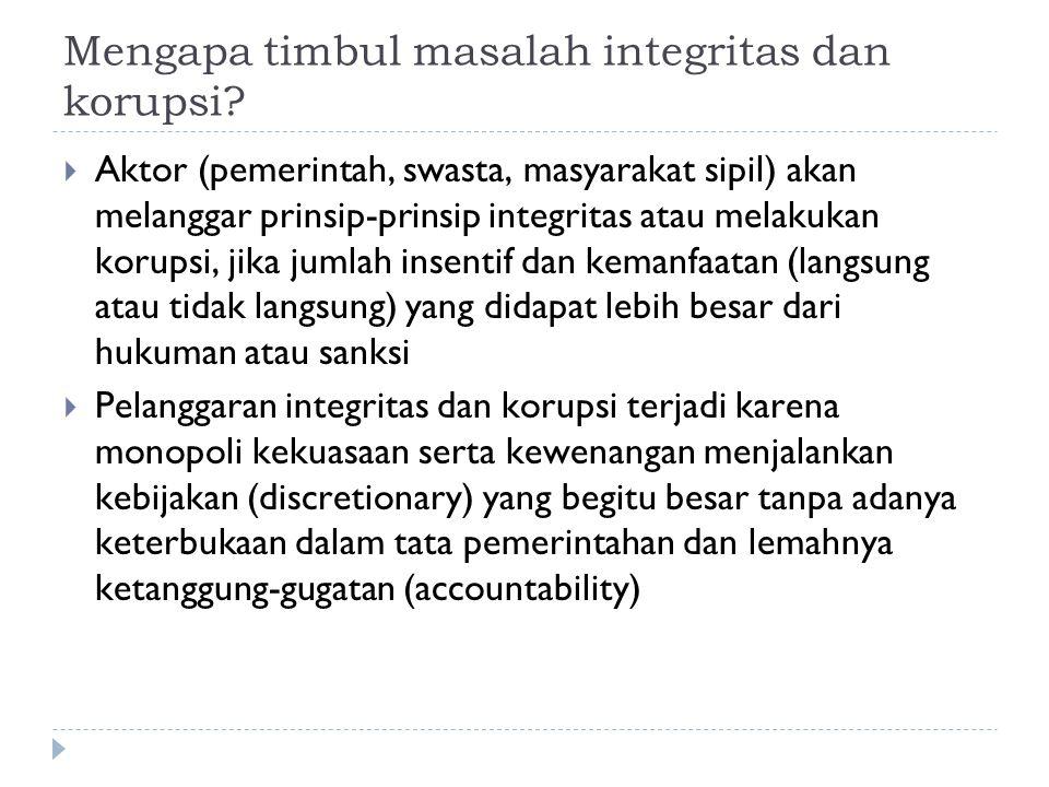 Mengapa timbul masalah integritas dan korupsi.