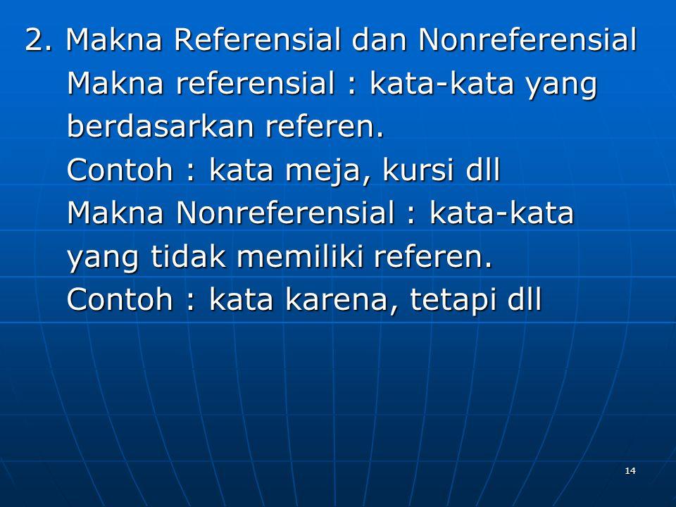 2. Makna Referensial dan Nonreferensial Makna referensial : kata-kata yang Makna referensial : kata-kata yang berdasarkan referen. berdasarkan referen