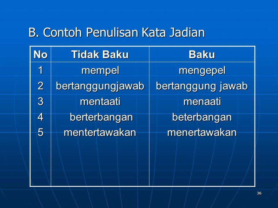 36 B. Contoh Penulisan Kata Jadian No Tidak Baku Baku 12345mempelbertanggungjawabmentaati berterbangan berterbanganmentertawakanmengepel bertanggung j