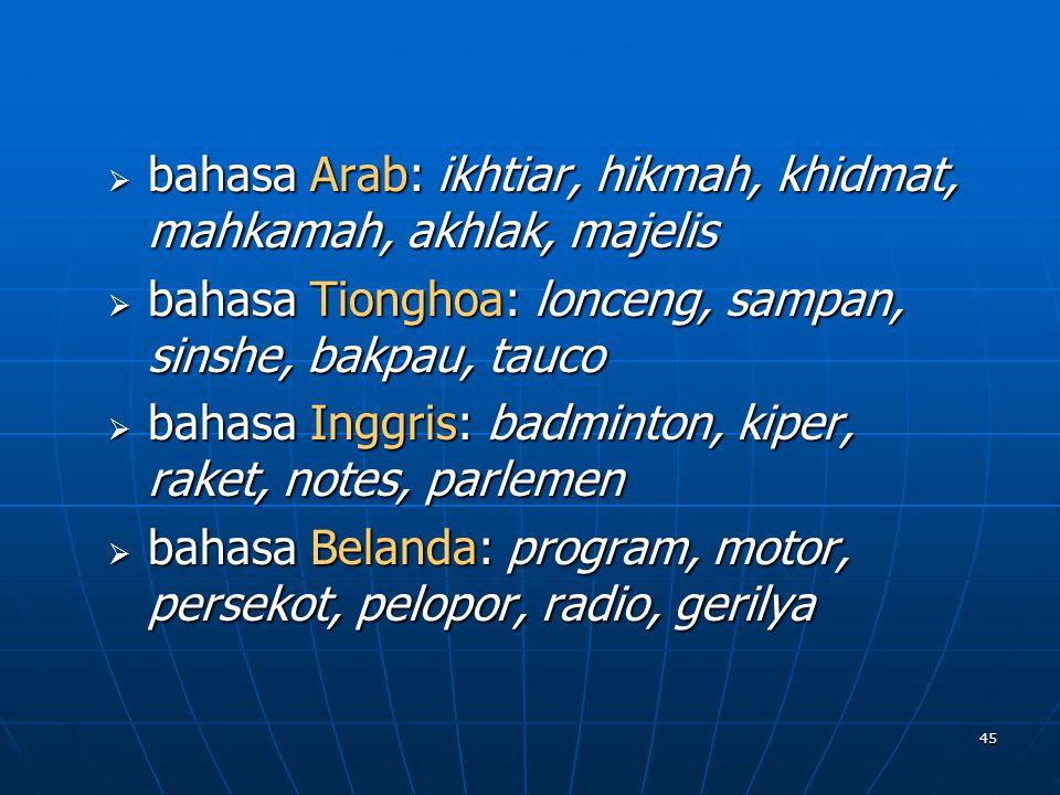 45 bbbbahasa Arab: ikhtiar, hikmah, khidmat, mahkamah, akhlak, majelis bbbbahasa Tionghoa: lonceng, sampan, sinshe, bakpau, tauco bbbbahas