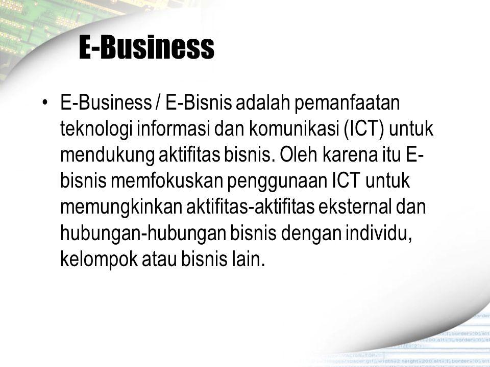 E-Business E-Business / E-Bisnis adalah pemanfaatan teknologi informasi dan komunikasi (ICT) untuk mendukung aktifitas bisnis. Oleh karena itu E- bisn