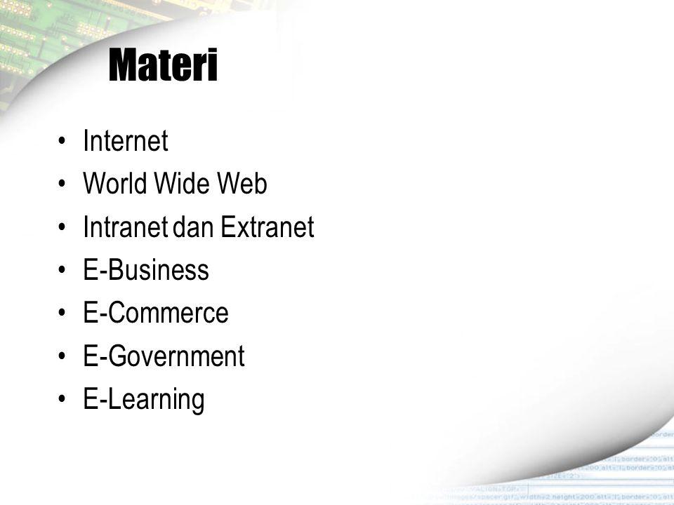 Internet Internet adalah suatu sistem global dari jaringan komputer terinterkoneksi yang dapat digunakan untuk bertukar data dengan menggunakan packet switching berstandar TCP/IP.