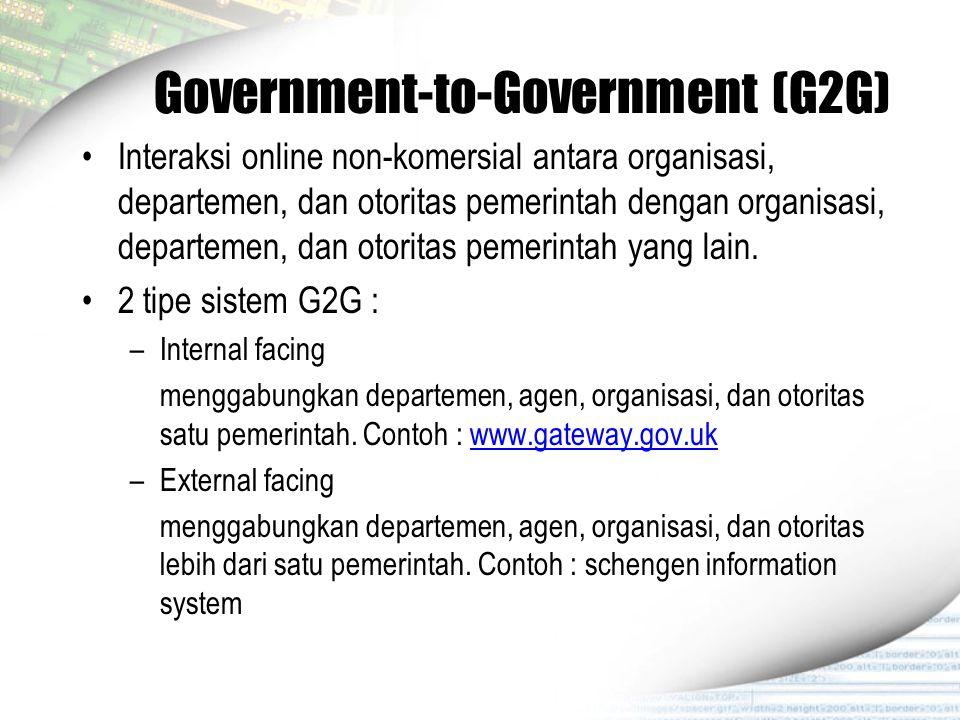 Government-to-Government (G2G) Interaksi online non-komersial antara organisasi, departemen, dan otoritas pemerintah dengan organisasi, departemen, da