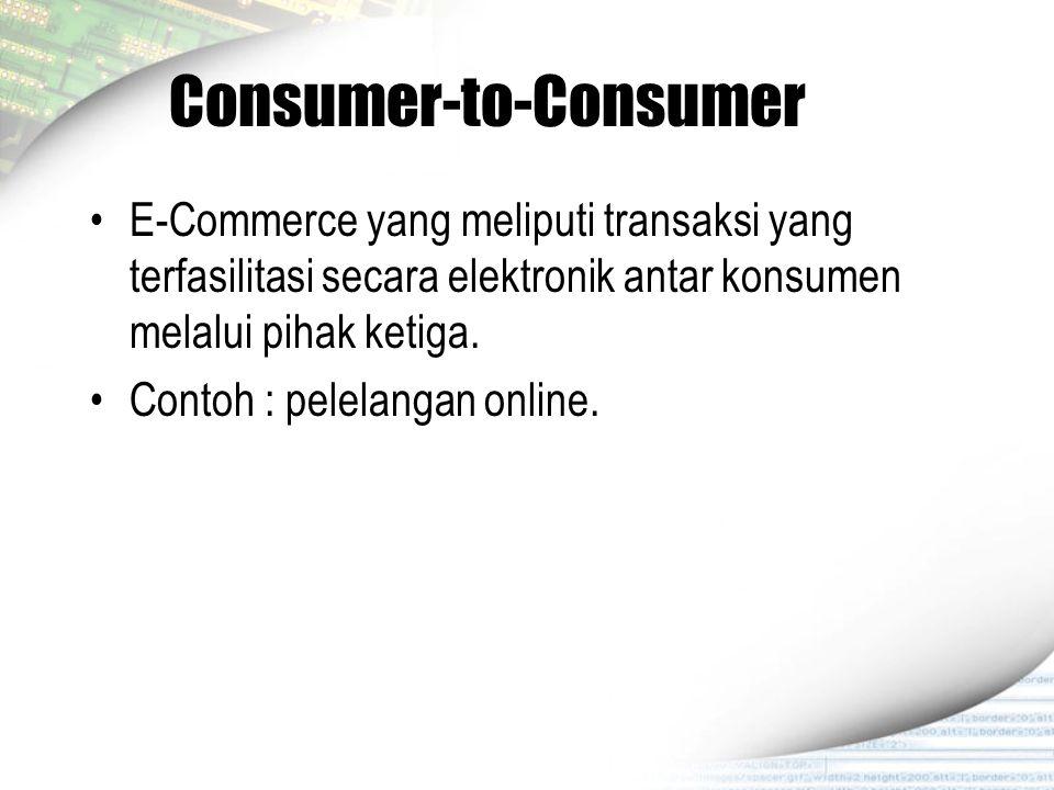 Consumer-to-Consumer E-Commerce yang meliputi transaksi yang terfasilitasi secara elektronik antar konsumen melalui pihak ketiga. Contoh : pelelangan