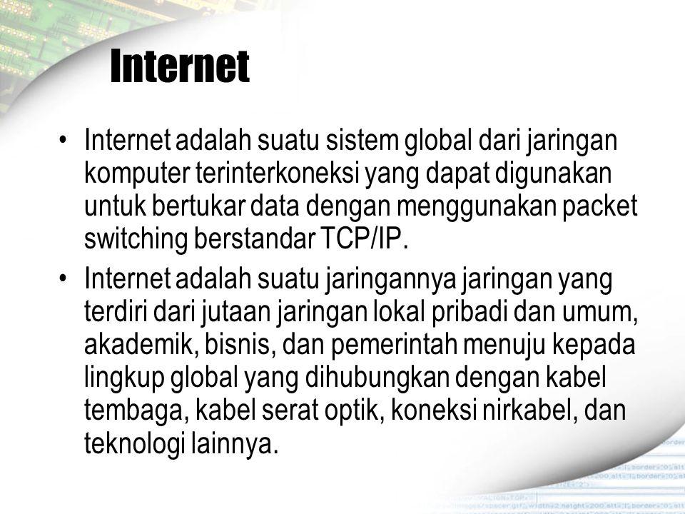 Internet Internet adalah suatu sistem global dari jaringan komputer terinterkoneksi yang dapat digunakan untuk bertukar data dengan menggunakan packet