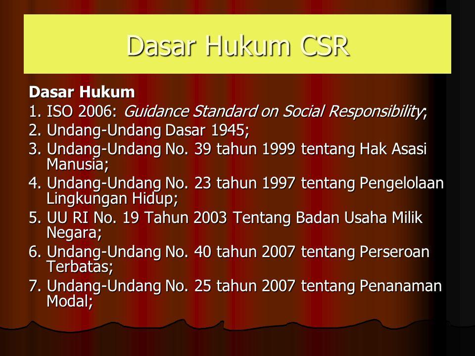 Dasar Hukum CSR Dasar Hukum 1. ISO 2006: Guidance Standard on Social Responsibility; 2. Undang-Undang Dasar 1945; 3. Undang-Undang No. 39 tahun 1999 t