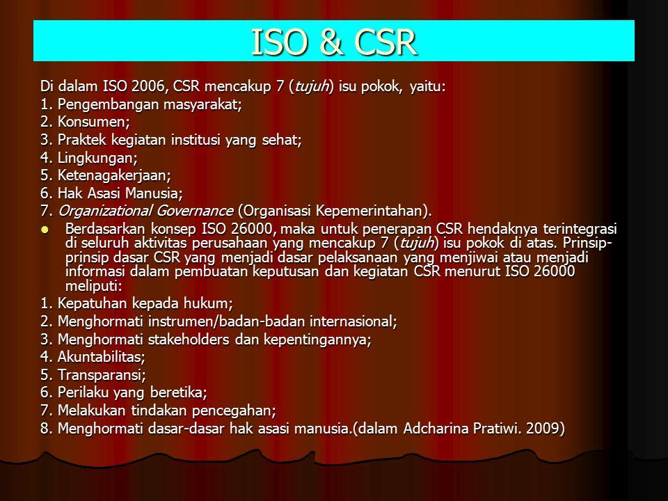 ISO & CSR Di dalam ISO 2006, CSR mencakup 7 (tujuh) isu pokok, yaitu: 1. Pengembangan masyarakat; 2. Konsumen; 3. Praktek kegiatan institusi yang seha