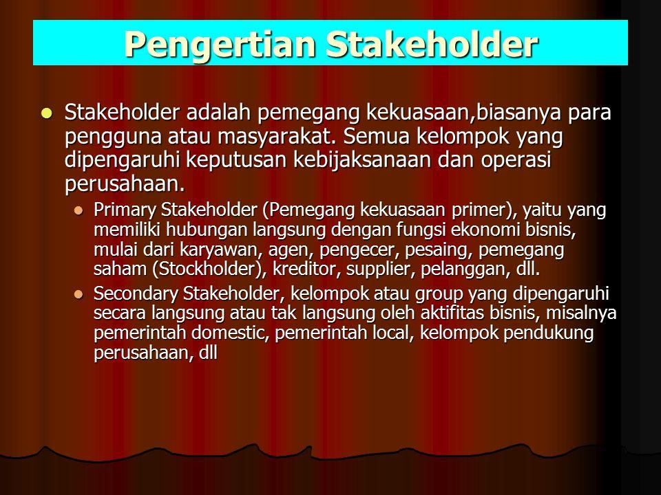 Pengertian Stakeholder Stakeholder adalah pemegang kekuasaan,biasanya para pengguna atau masyarakat. Semua kelompok yang dipengaruhi keputusan kebijak