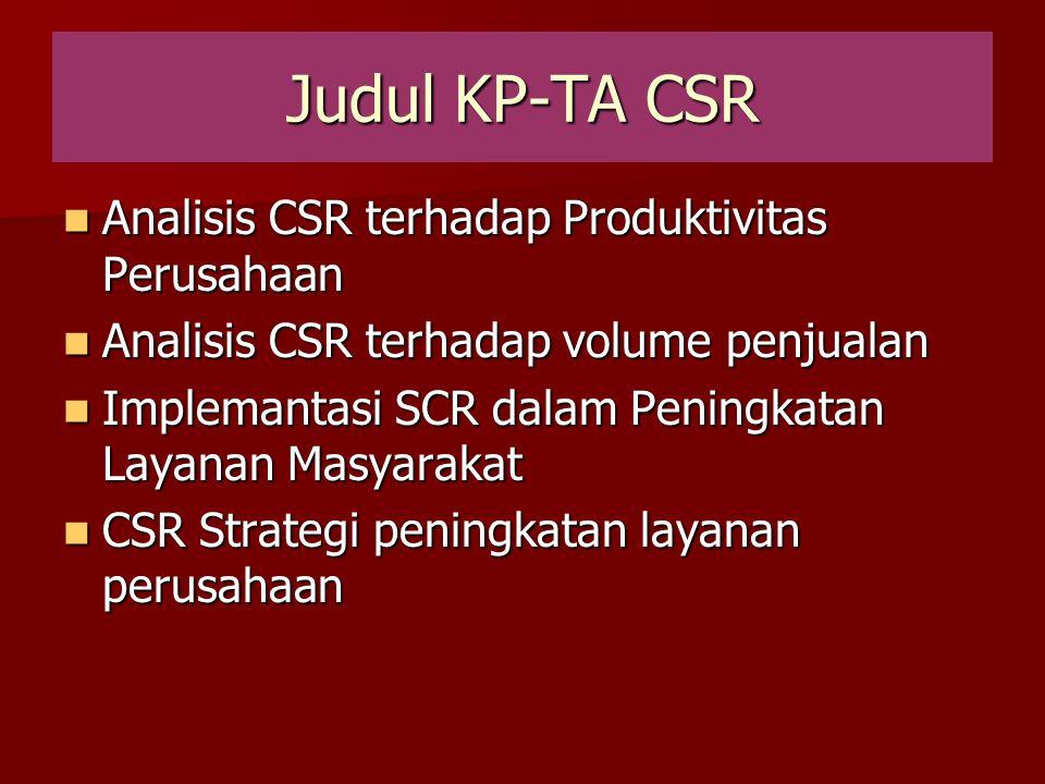Judul KP-TA CSR Analisis CSR terhadap Produktivitas Perusahaan Analisis CSR terhadap Produktivitas Perusahaan Analisis CSR terhadap volume penjualan A