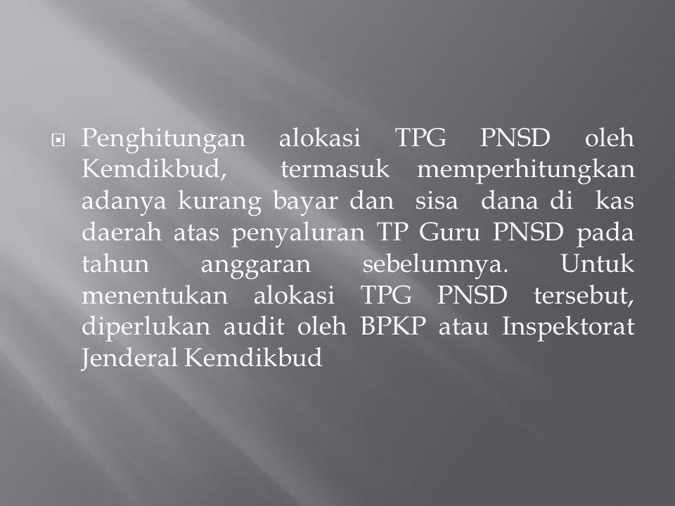  Penghitungan alokasi TPG PNSD oleh Kemdikbud, termasuk memperhitungkan adanya kurang bayar dan sisa dana di kas daerah atas penyaluran TP Guru PNSD