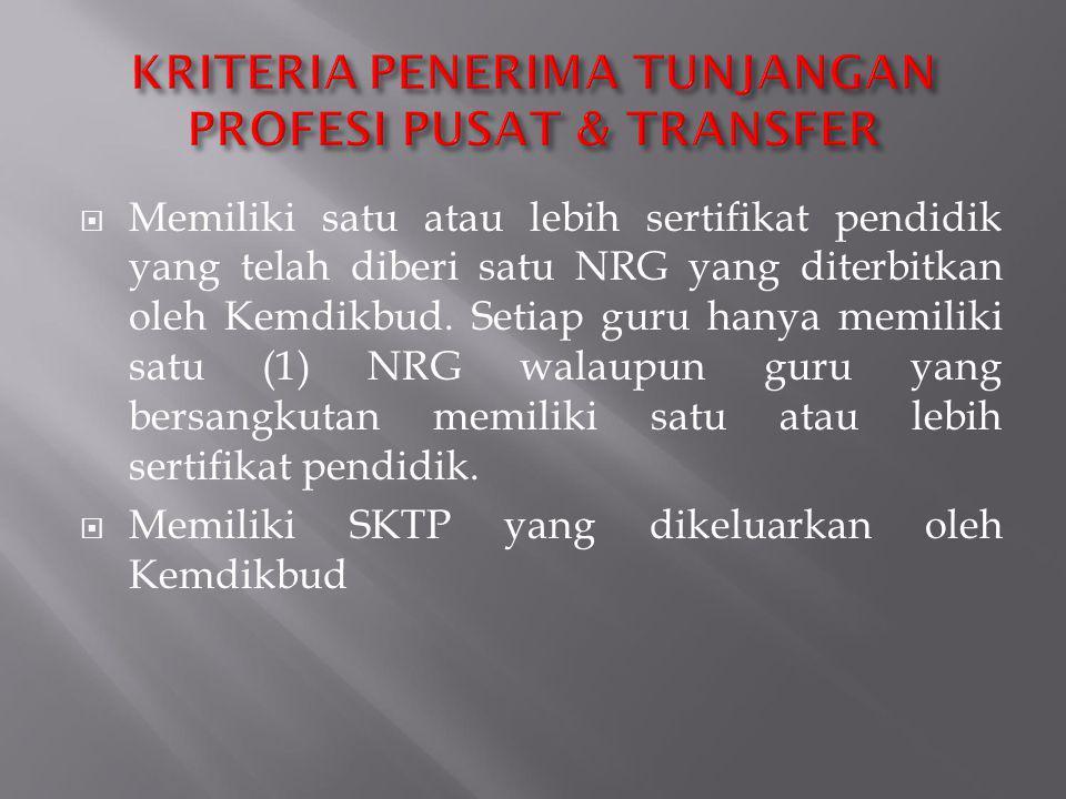  Memiliki satu atau lebih sertifikat pendidik yang telah diberi satu NRG yang diterbitkan oleh Kemdikbud. Setiap guru hanya memiliki satu (1) NRG wal