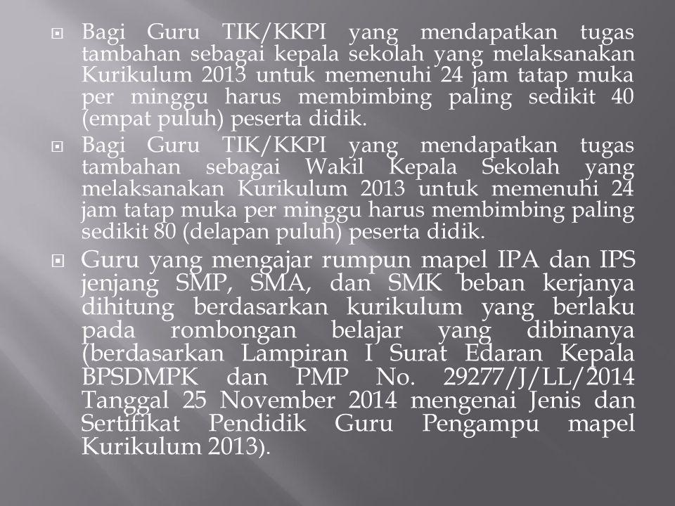  Bagi Guru TIK/KKPI yang mendapatkan tugas tambahan sebagai kepala sekolah yang melaksanakan Kurikulum 2013 untuk memenuhi 24 jam tatap muka per ming