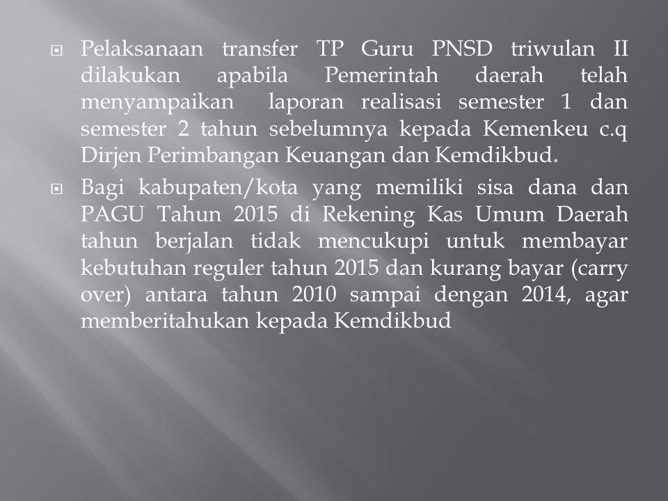  Pelaksanaan transfer TP Guru PNSD triwulan II dilakukan apabila Pemerintah daerah telah menyampaikan laporan realisasi semester 1 dan semester 2 tah