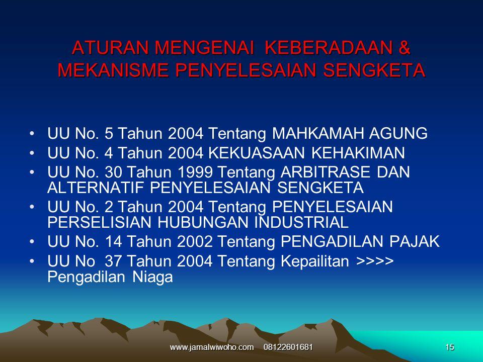 ATURAN MENGENAI KEBERADAAN & MEKANISME PENYELESAIAN SENGKETA UU No. 5 Tahun 2004 Tentang MAHKAMAH AGUNG UU No. 4 Tahun 2004 KEKUASAAN KEHAKIMAN UU No.