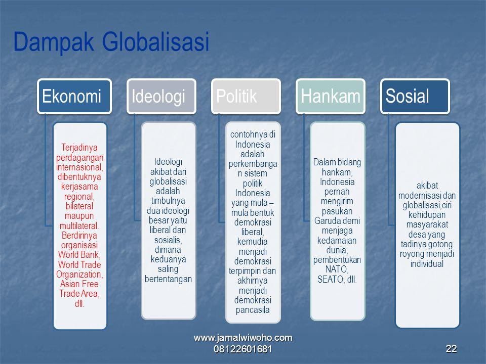 Dampak Globalisasi Ekonomi Terjadinya perdagangan internasional, dibentuknya kerjasama regional, bilateral maupun multilateral. Berdirinya organisasi