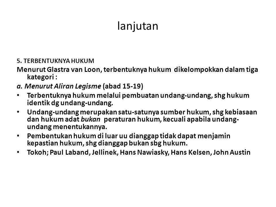 lanjutan 5. TERBENTUKNYA HUKUM Menurut Glastra van Loon, terbentuknya hukum dikelompokkan dalam tiga kategori : a. Menurut Aliran Legisme (abad 15-19)