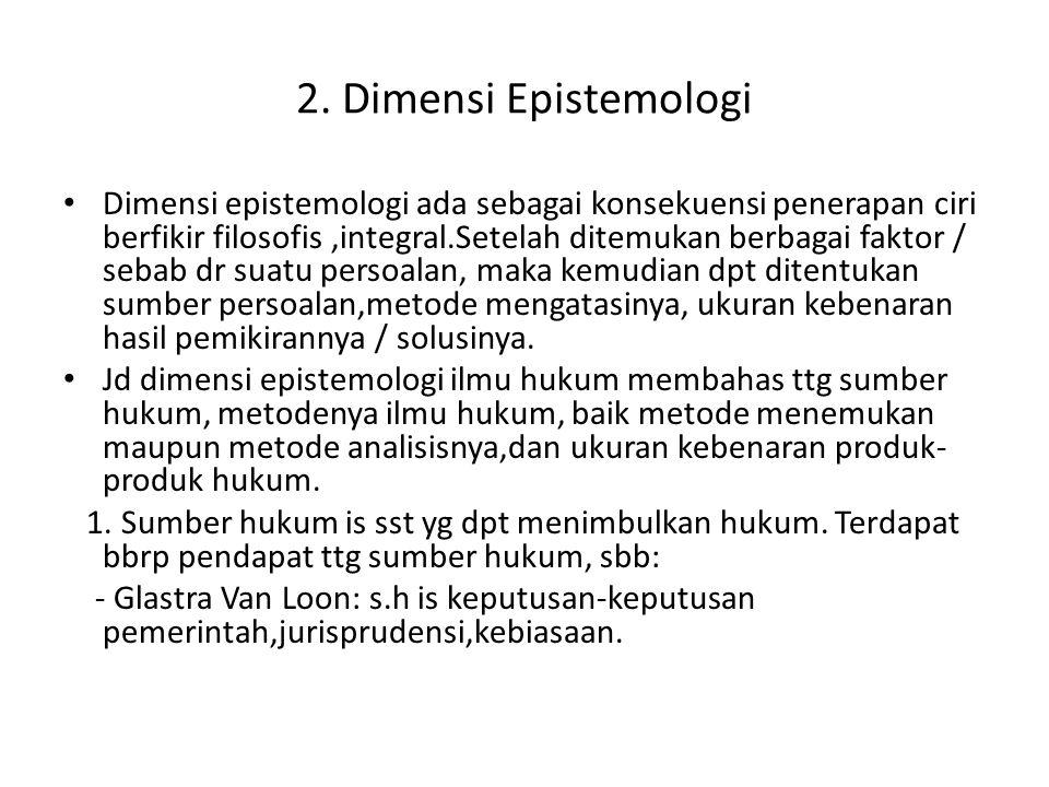 2. Dimensi Epistemologi Dimensi epistemologi ada sebagai konsekuensi penerapan ciri berfikir filosofis,integral.Setelah ditemukan berbagai faktor / se
