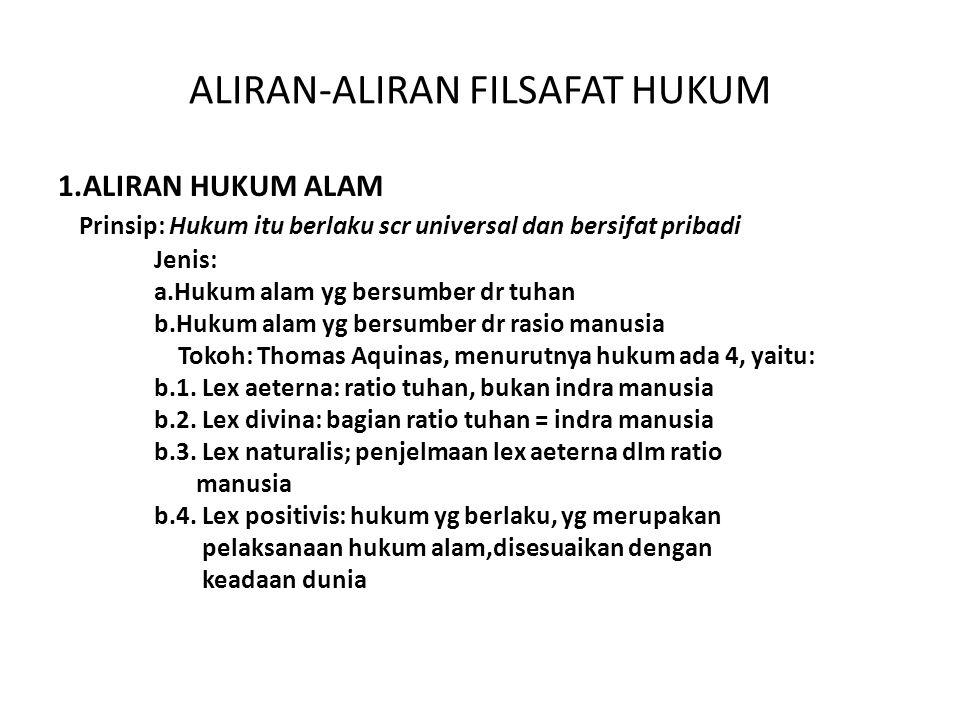 ALIRAN-ALIRAN FILSAFAT HUKUM 1.ALIRAN HUKUM ALAM Prinsip: Hukum itu berlaku scr universal dan bersifat pribadi Jenis: a.Hukum alam yg bersumber dr tuh