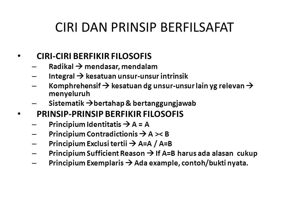 CIRI DAN PRINSIP BERFILSAFAT CIRI-CIRI BERFIKIR FILOSOFIS – Radikal  mendasar, mendalam – Integral  kesatuan unsur-unsur intrinsik – Komphrehensif 