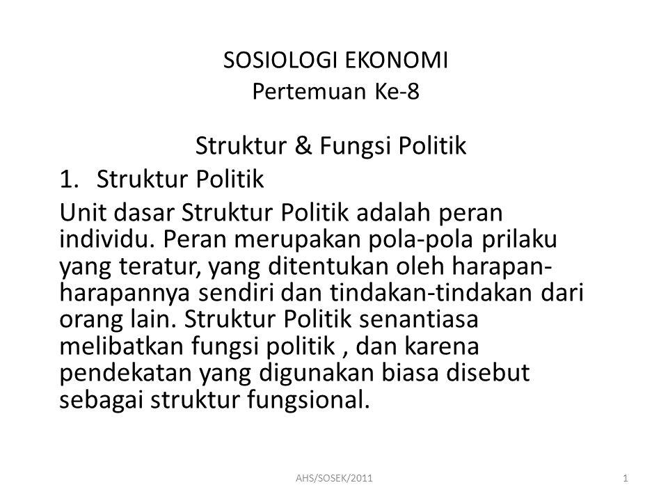SOSIOLOGI EKONOMI Pertemuan Ke-8 Struktur & Fungsi Politik 1.Struktur Politik Unit dasar Struktur Politik adalah peran individu.