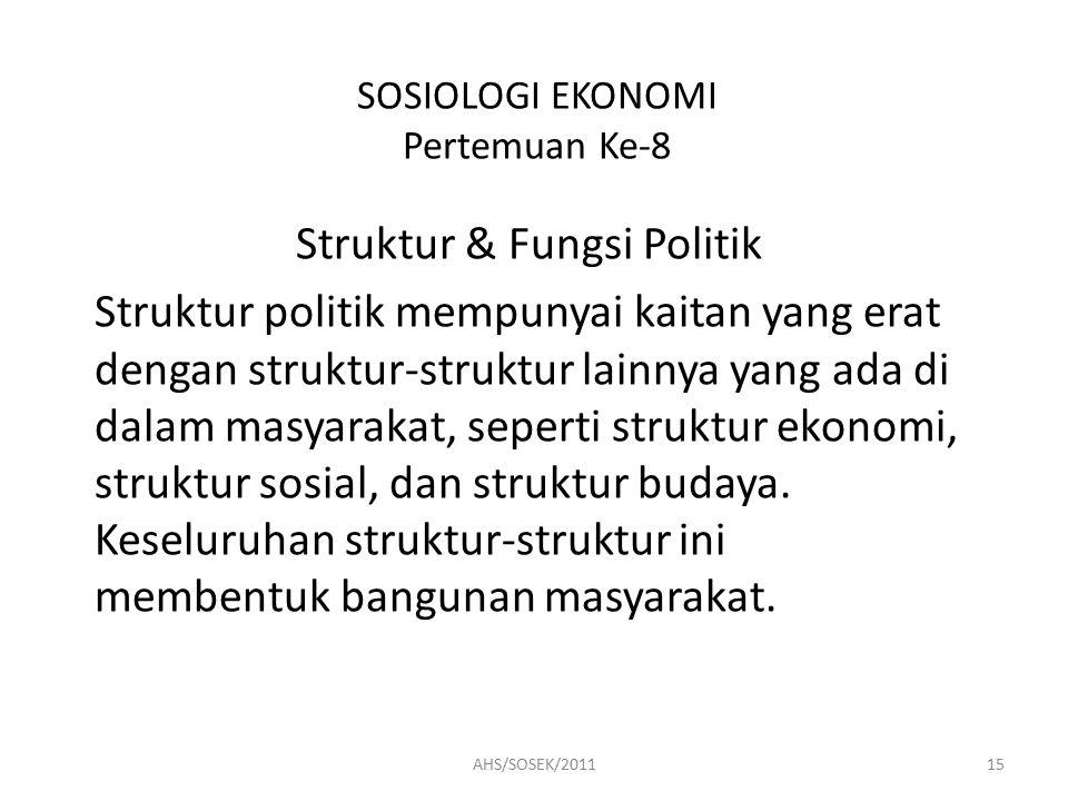 SOSIOLOGI EKONOMI Pertemuan Ke-8 Struktur & Fungsi Politik Struktur politik mempunyai kaitan yang erat dengan struktur-struktur lainnya yang ada di dalam masyarakat, seperti struktur ekonomi, struktur sosial, dan struktur budaya.