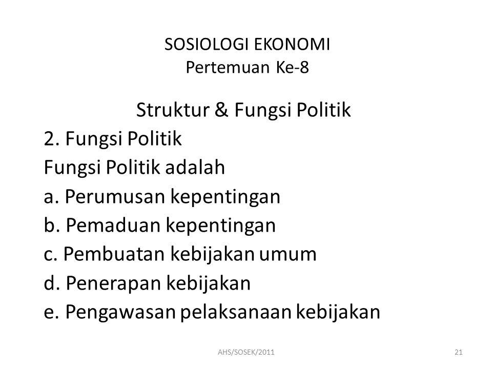 SOSIOLOGI EKONOMI Pertemuan Ke-8 Struktur & Fungsi Politik 2.
